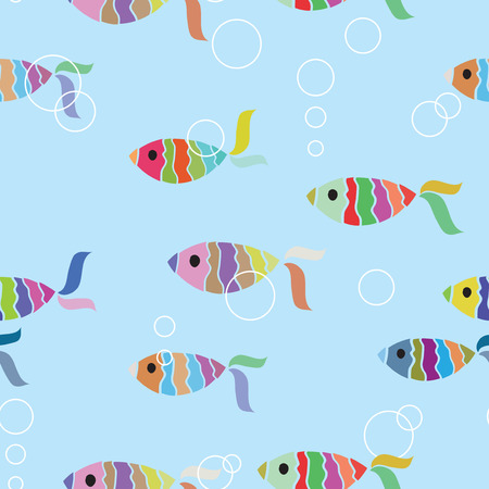 skeleton fish: Fish seamless background Illustration