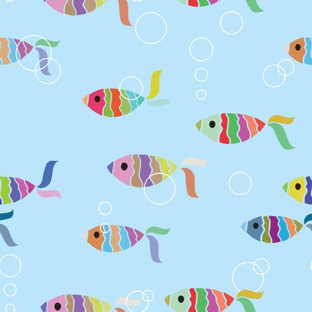 bone fish: Fish seamless background Illustration