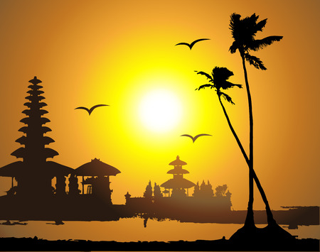 thai painting: Tropical sunset, palm tree silhouette