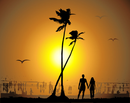 Tropical sunset, beach Vector