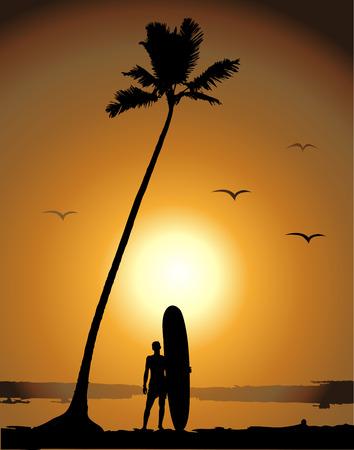 Summer vacations, surfing Vector