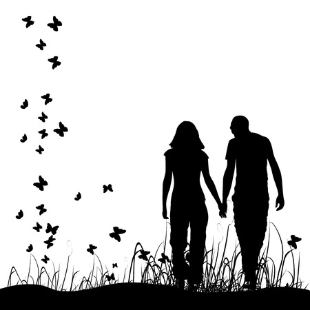 Couple on meadow, black silhouette Vector