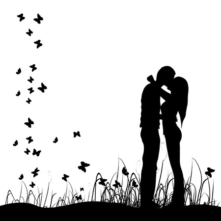 Couple kisses on a meadow, black silhouette Stock Vector - 4412444