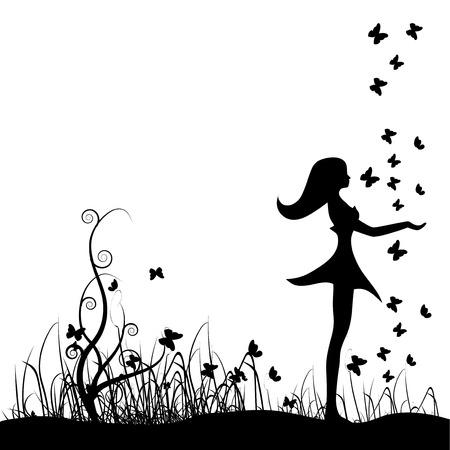 zwart wit tekening: Mooi meisje op weide, vlinders