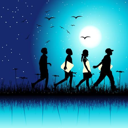 children group: Children group on nature, night scene