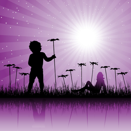Child on floral field Vector