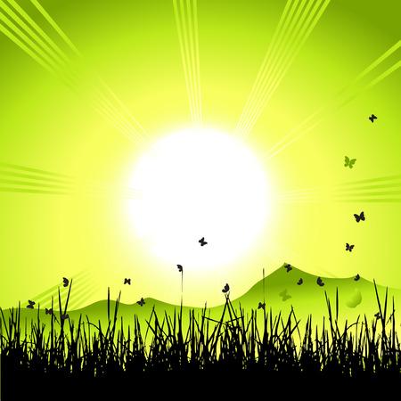 Landscape, nature, grass and butterflies, sun Stock Vector - 4412439