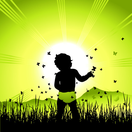 Baby on nature, black silhouette Vector