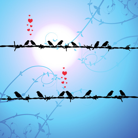 Love, birds kissing on branch Vector