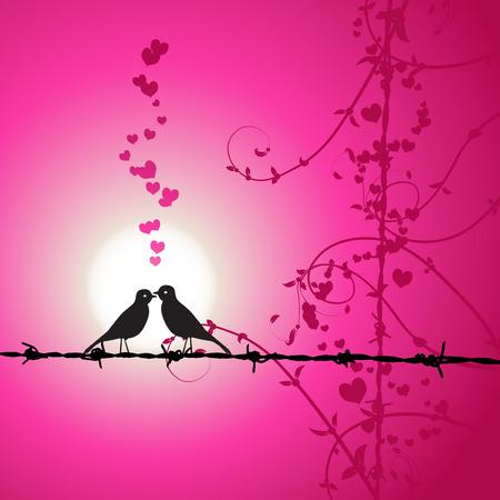 Love, birds kissing on branch Illustration