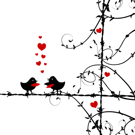 Love, birds kissing on branch Illustration
