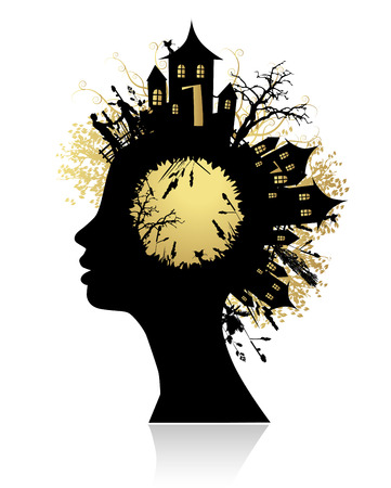 contemplating: Environment, thinking silhouette Illustration