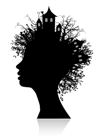 woman face profile: Environment, thinking silhouette Illustration
