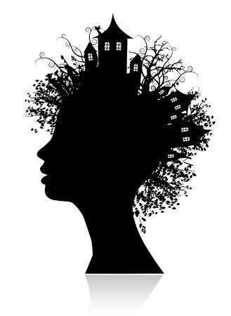 visage femme profil: L'environnement, en pensant silhouette Illustration