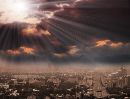 Cityscape background, night scene photo