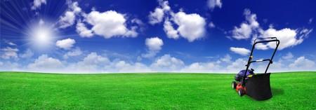 tondeuse: Tondeuse � gazon sur le champ vert