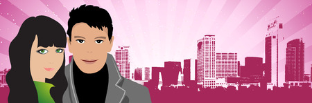 Couple on the cityscape background Vector