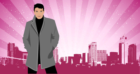 City life, man in suit on the street Vector