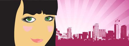 City life, woman beautiful on the street Stock Vector - 4562240