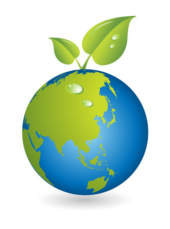 New life, leaf with world map globe Vector