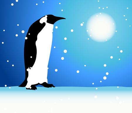 Penguin, winter in Arctic Vector