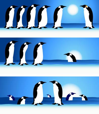 Penguins, winter in Arctic Stock Vector - 4562250