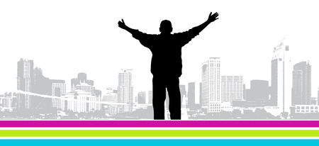 arms outstretched: Its my city, vector illustration for your design Illustration