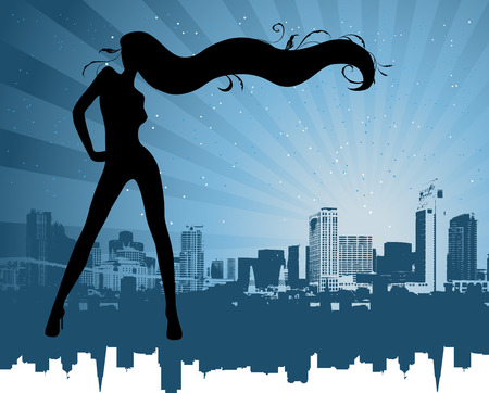 y girl on the cityscape background Vector