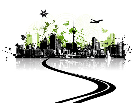 Green city, cityscape background, urban art Vector