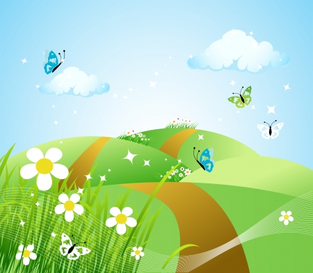 Spring meadow beautiful Stock Vector - 4562270
