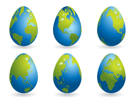 colored egg: Easter eggs collection with world map Illustration