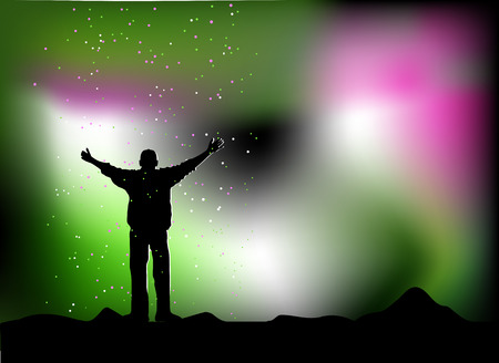 outstretched: Star rain, happy man  Illustration