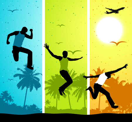 Summer vacations, funny people on colorful backgound Vector