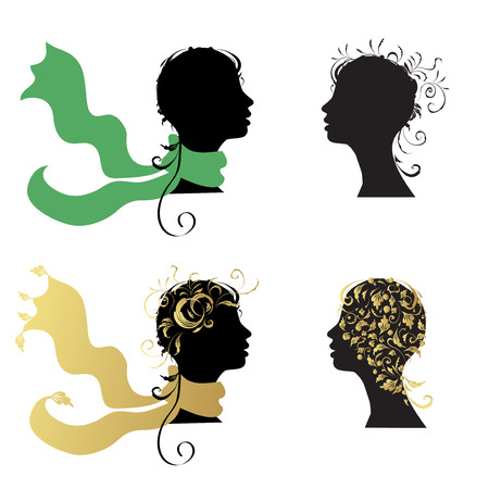 Beautiful woman, head silhouette for your design Vector