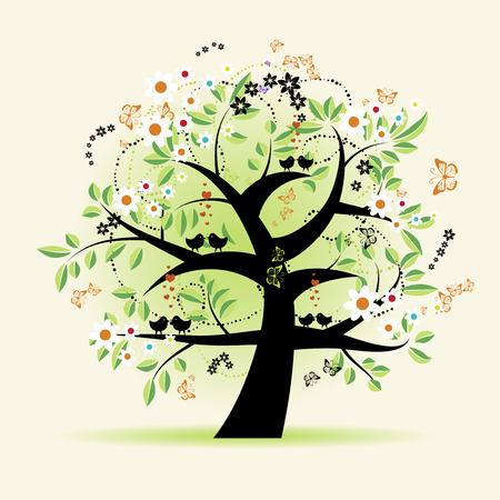 maple trees: Floral tree beautiful Illustration