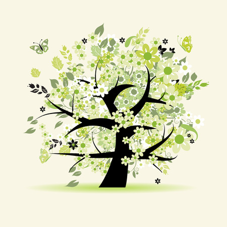 leaves vector: Floral tree beautiful Illustration