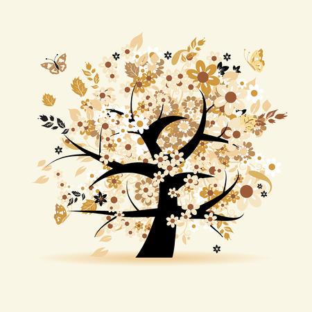 colorful maple trees: Floral tree beautiful Illustration