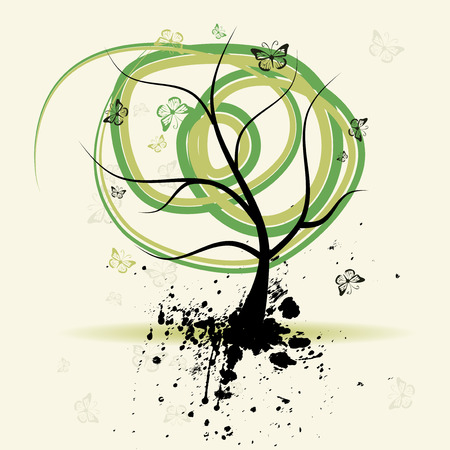 Art tree, grunge background Stock Vector - 4664069