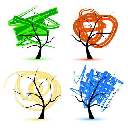 Art tree, seasons Vector