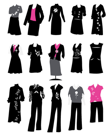 Collection of women's business suits, office style, dress code Stock Vector - 4664064