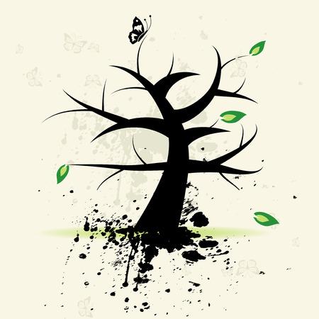Art tree, grunge background Stock Vector - 4664085