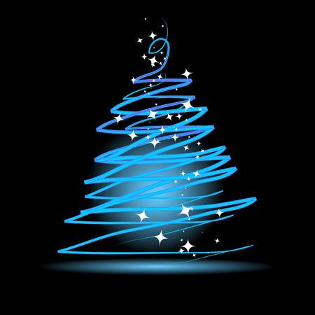 Christmas tree on black background Stock Vector - 4664062