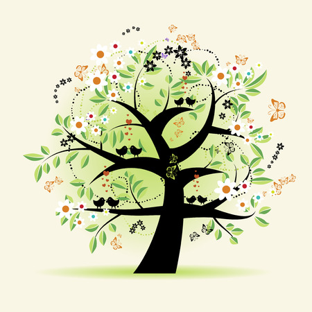 Floral tree beautiful Stock Vector - 4664071