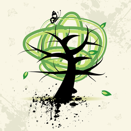 Art tree, grunge background Illustration