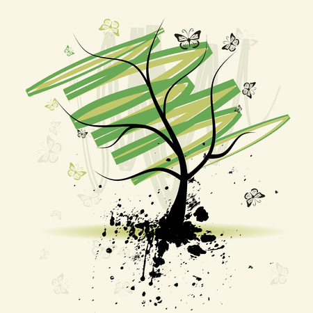 Art tree, grunge background Vector