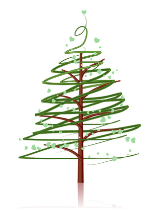 Pine tree isolated on white Vector