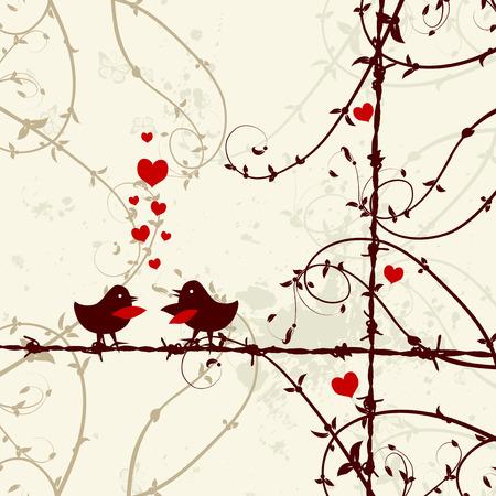 Love, birds kissing on branch Vector