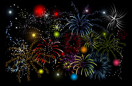 Fireworks, holiday night Vector