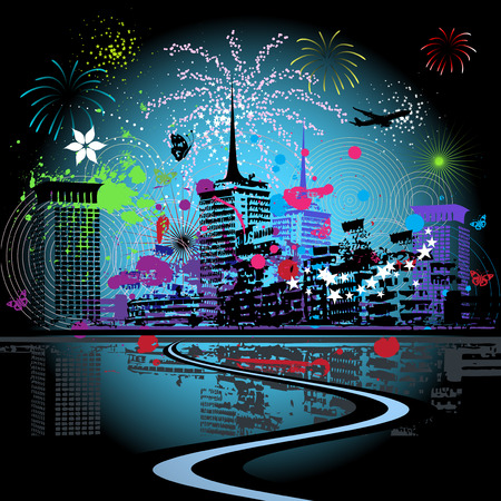 Firework in the city Vector