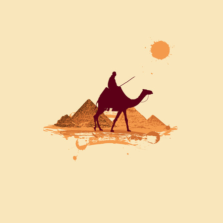 Pyramid in desert, traveling Vector
